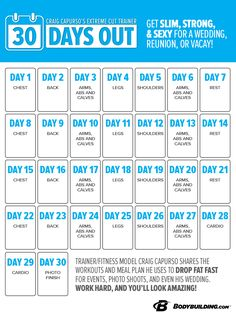 30 Days Out is for those of you who want to look your best for an event like a physique competition, wedding, reunion, or photo shoot. It'll also work for someone who has roughly 12 percent body fat and wants to get down into single digits. Are you up for the 30 Day Challenge? Bodybuilding.com