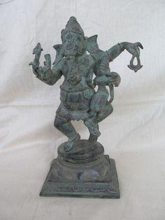 Vintage Look Brass Bronze Hindu Tribal Elephant God Ganesh Statue Figure 1258
