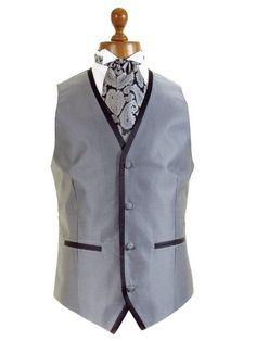 Wedding Waistcoats - Silver & Black - Formal Dress Waistcoats