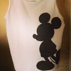 DIY Disney Mickey Mouse shirt or tank top.  $3 boys tank from Walmart, fabric paint and a homemade freezer paper stencil.