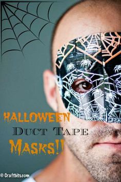 Halloween Duct Tape Masks - Looking for a quick Halloween costume or just a disguise when you get the mail? Look no further than these fun masks! - What you need: Cheap Plastic Masks from Craft Supply store, Halloween Theme Duct Tape, and Scissors. Quick Halloween Costumes, Halloween Crafts For Kids, Diy Halloween Decorations, Halloween Cosplay, Halloween Masks, Holidays Halloween, Halloween Themes, Adult Halloween, Happy Halloween