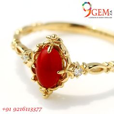Red coral ring studded with diamond and gold metal. This is a beautiful ring should be worn on special occasions. Gold Jewelry Simple, Gold Rings Jewelry, Coral Jewelry, Gold Jewellery Design, Stone Ring Design, Coral Ring, Schmuck Design, Red Coral, Red Jewel