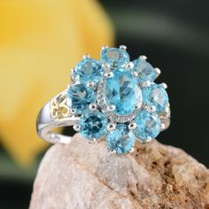 Madagascar Paraiba Apatite Ring in 14K Yellow Gold and Platinum Overlay Sterling Silver (Nickel Free)