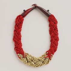 One of my favorite discoveries at WorldMarket.com: Gold and Red Braided Bead Necklace