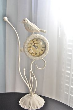 White bird decorative table or desk clock shabby chic by VellaMade, $29.00