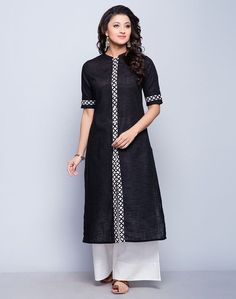 Simple yet graceful, this kurta is perfect clothing for special occasions. The discharge printed border detail accentuates the look of the kurta. Tailored in comfortable A-line fit, this kurta looks elegant with churidars as well as ijar pants.  Cotton Slub Fabric Discharge Border Chinese Collar with Placket 3Q Sleeves A-line Fit Hand Wash Separately in Cold Water