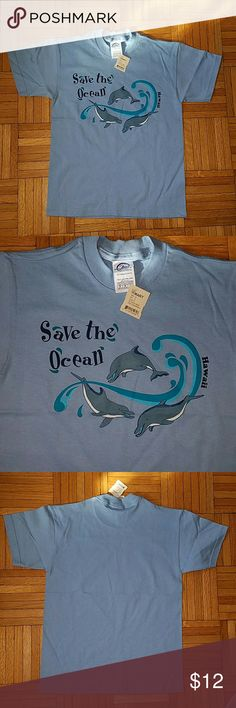 "Last chance! Nwt! ""Save the Ocean"" T-shirt Nwt! Kids! Light Blue ""Save the Oceans-Hawaii"" Short Sleeve T-shirt  -adorable 3 dolphins with ""Save the Ocean"" on top and ""Hawaii"" on the side (see photo 2) -size medium (10/12) -100% preshrunk cotton -made in the USA Shirts & Tops Tees - Short Sleeve"