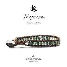 Bracciale Mychau Vietnam Yen Bai originale realizzato con pietre naturali AGATA MUSCHIATA su base EMATITE e bracciale in corda.