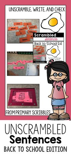 Scrambled Sentences Back to School Edition are perfect to teach decoding, fluency, sight word recognition, using proper punctuation such as capitals and ending punctuation, and writing in complete sentences. Daily 5 Activities, Sight Word Activities, Back To School Activities, Kindergarten Activities, Primary Classroom, Classroom Ideas, Flipped Classroom, Google Classroom, Reading Skills
