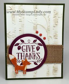 Stampin' Up! Thankful Friends Handmade Thanksgiving Card. Woodland Embossing Folder www.mystamplady.com