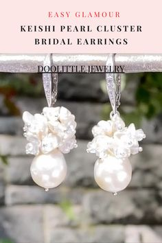 Cluster Earrings, Women's Earrings, Bridal Earrings, Bridal Jewelry, Pearl Jewelry, Gemstone Jewelry, Baroque Pearls, Romantic Weddings, Boho Necklace