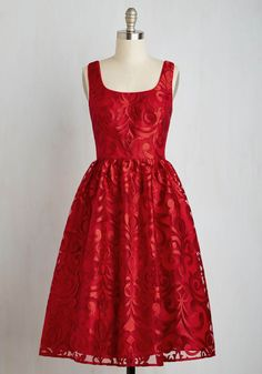 Ring My Belle Dress. Everyone will chime in to pay your ruby-red A-line a robust compliment! #red #prom #modcloth