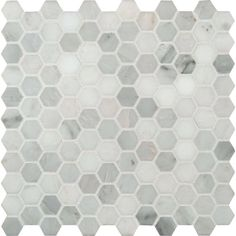 MS International Mosaic Tile: Greecian White Hexagon 12 in. x 12 in. x 10 mm Polished Marble Mesh-Mounted Mosaic Tile GRE-1HEXP