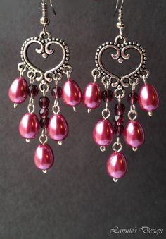Free Shipping within USA Purple Wine Chandelier Earrings by LanniesDesign