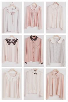 Collared vintage tops. In materials like lace, silk and cotton. Colours of salmon, white, grey and pink.