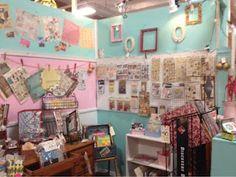 Phoenix Scrapbook Store pink and aqua booth display...