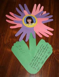 "Students use their hand prints and footprints to create these ""Mother's Day Flowers.""  The poem that is written in the petals says: ""This little flower is special, you see, because it is made from parts of me. My hands and feet made each flower part, to show I love you with all my heart.""  These student flowers would make a lovely Mother's Day bulletin board display and I would write the poem in large print as the title for this bulletin board display."