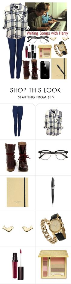 """""""Writing Songs with Harry"""" by elise-22 ❤ liked on Polyvore featuring Topshop, Rails, Steve Madden, rag & bone, Pineider, Minor Obsessions, Miss Selfridge, Laura Mercier, AERIN and harrystyles"""