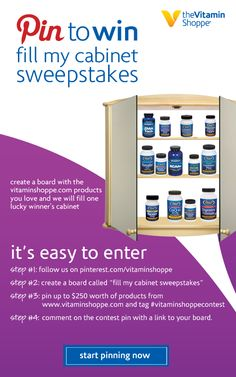 """Contest Pin: #Contest Time! Create a board titled 'Fill My Cabinet Sweepstakes"""" and pin up to 250 of products from vitaminshoppe.com that you would love to have and we will fill one lucky winner's cabinet. Be sure to use #vitaminshoppecontest in every pin! Start pinning, your next restock could be on us. Comment below with the link to your finished board.#vitaminshoppecontest"""