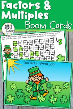 This set of St. Patrick's Day themed Boom Cards make learning about multiples of a number more fun. Students practice finding the multiples of 2 numbers with these two completely digital St. Patrick's themed factors activities. Perfect for math centers, distance learning, and homeschool. Easter Activities, Holiday Activities, Classroom Activities, Classroom Ideas, Math Rotations, Math Centers, Primary Maths Games, Factors And Multiples, Spring School