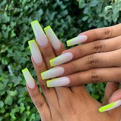 Related posts:Manicure idea for your nails white nail polishSilver and milky nails Neon Acrylic Nails, Square Acrylic Nails, Neon Nails, 3d Nails, Coffin Nails, Milky Nails, Neon Green Nails, Drip Nails, Nagellack Design