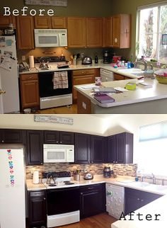 DIY Espresso stained kitchen cabinets + back splash