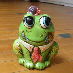 Vintage 1968 Holiday Fair Piggy Bank Money Box Painted Green Ceramic Frog, Snail #HolidayFair