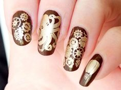 nail art steampunk octopus jules verne plaqes plates bundle monster create your own gears stamping eyeslipsface brown kiko mirror gold Brown Nail Art, Brown Nails, Stylish Nails, Trendy Nails, Cute Acrylic Nails, Fun Nails, Steam Punk, Octopus Nails, Wonder Woman Nails