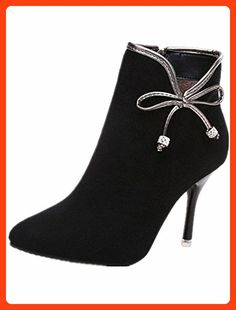 QINGYUAN Womens Autumn Classic High Heels Ankle Boots with Bow US 7 Black (*Partner Link)