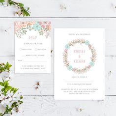 Printable Wedding Invitation/ RSVP/ Save the by GreybeePrintables #floralwedding #pastelwedding #greybeeprintables