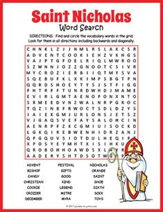 Your students will enjoy looking for all of the fun Saint Nicholas Day vocabulary words hidden in th Puzzles For Kids, Worksheets For Kids, St Nicholas Day, 5th Grade Social Studies, Word Search Puzzles, Vintage Birthday Cards, Religious Education, Vocabulary Words, Decoration Table