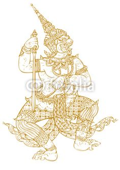 Demon Guardian Traditional Thai art. Lined design Vector templat