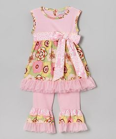 Look at this #zulilyfind! Pink & Green Jade Top & Ruffle Pants - Infant, Toddler & Girls #zulilyfinds