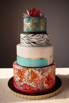 Hand-painted wedding cake by Charm City Cakes. I like the idea of hand painted decor, especially how it turned out on the bottom piece. Painted Wedding Cake, Cool Wedding Cakes, Wedding Cake Designs, Gorgeous Cakes, Pretty Cakes, Amazing Cakes, Cupcakes, Cupcake Cakes, Crazy Cakes