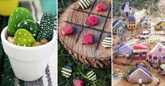 Lek loss med färg och sten – 19 roliga pysselidéer | Land Projects For Kids, Crafts For Kids, Rock Design, Reggio Emilia, Rock Crafts, Backyard, Christmas Ornaments, Halloween, Holiday Decor