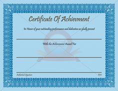 19 best Achievement Certificate images on Pinterest Certificate
