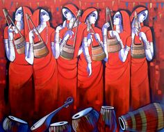 Artist Painting - Bengali Tune by Sekhar Roy Pichwai Paintings, Indian Art Paintings, Modern Art Paintings, Indian Artwork, Artist Painting, Artist Art, Silk Painting, Indian Art Gallery, Composition Painting