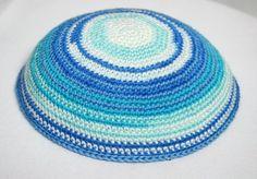 kippah shades of blue by crochetkippah on Etsy