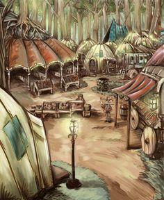 Stock Landscapes: Halfling Camp Fantasy village Camping art Village map