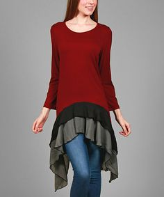This Simply Aster Burgundy & Black Stripe Drape-Hem Tunic by Simply Aster is perfect! #zulilyfinds