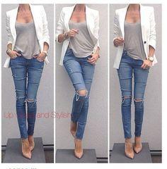 ripped jeans + nude pumps + white blazer - so chic - so simple Fashion Mode, Love Fashion, Autumn Fashion, Womens Fashion, Style Fashion, Fashion Black, Petite Fashion, 80s Fashion, Daily Fashion