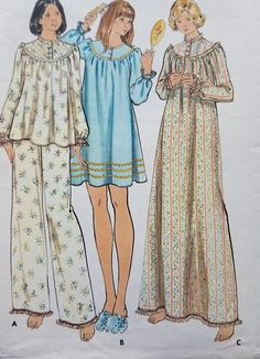 1970s Misses Nightgown Pattern Butterick 5745 Misses Pajamas Nightgown  Pattern 37fcf6eef
