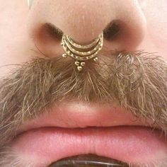 Photo taken by Micah Greenlay - 3 Lobe Piercings, Septum Piercing Jewelry, Septum Ring, Hexagon Tattoo, Stretched Septum, Body Adornment, Body Jewelry, Jewellery, Labret