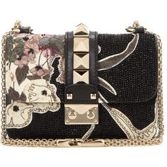 Valentino Lock Mini Beaded Leather Shoulder Bag ($2,075) ❤ liked on Polyvore featuring bags, handbags, shoulder bags, bolsas, black, leather shoulder bag, genuine leather shoulder bag, mini purses, genuine leather purse and shoulder handbags
