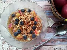 If you are making homemade granola, start the granola first, which will take approximately 15-20 minutes to bake. Recipe for the granola is listed at the end. Chia Seed Blueberry Apple Pie Breakfas...