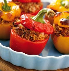 Stuffed Pepper Recipe | Stuffed Peppers with Ground Beef and Rice