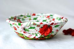 Your place to buy and sell all things handmade Unique Gifts, Handmade Gifts, Etsy Handmade, Christmas Fabric, Handmade Christmas, Holiday Baskets, Holiday Candy, Green Fabric, Bowl