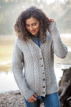The Brigid Cardigan is knit in super soft Swish Worsted yarn. Designed by Margaret Mills, this is gorgeous knit cardigan pattern features  cables. Download the pattern and shop for yarn at KnitPicks.com