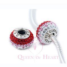 murano encanta con cristal rojos y transparentes de 925 plata