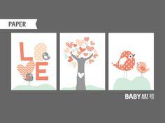 Articles similaires à Bébé fille chambre d'enfant estampes, ensemble de 3 11 x 14. Pépinière de l'amour, oiseaux, arbre, corail saumon et pâles (NPHO1114017) sur Etsy